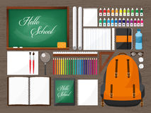 tylna szkoły również zwrócić corel ilustracji wektora Mieszkanie styl Edukacja i online kursy, sieci tutorials, nauczanie online  Zdjęcia Stock