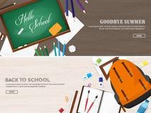 tylna szkoły również zwrócić corel ilustracji wektora Mieszkanie styl Edukacja i online kursy, sieci tutorials, nauczanie online  Zdjęcie Royalty Free