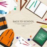 tylna szkoły również zwrócić corel ilustracji wektora Mieszkanie styl Edukacja i online kursy, sieci tutorials, nauczanie online  Zdjęcie Stock