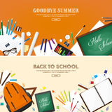 tylna szkoły również zwrócić corel ilustracji wektora Mieszkanie styl Edukacja i online kursy, sieci tutorials, nauczanie online  Obraz Stock