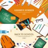 tylna szkoły również zwrócić corel ilustracji wektora Mieszkanie styl Edukacja i online kursy, sieci tutorials, nauczanie online  Obrazy Stock