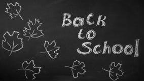tylna szkoły Rysunkowa kreda na blackboard jesieni liściach zdjęcie stock
