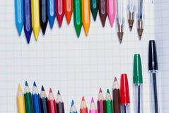 tylna szkoły Tło ołówek na a Zdjęcia Royalty Free