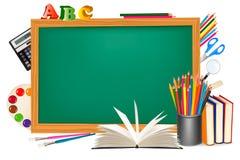 tylne biurka zieleni szkoły dostawy ilustracja wektor