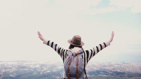 Tylnego widoku szczęśliwy młody żeński turysta z rękami szeroko otwarty przy nieprawdopodobną lato góry wierzchołka scenerią na V zbiory