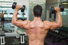 Tylni widok bez koszuli mięśniowy mężczyzna ćwiczy z dumbbells Obraz Royalty Free