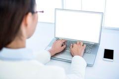 Tylni widok bizneswoman używa laptop Fotografia Royalty Free