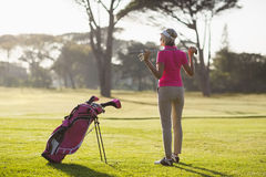 Tylni widok dojrzały kobiety mienia kij golfowy Zdjęcie Royalty Free