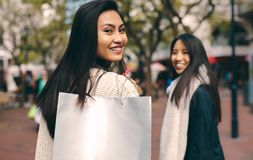 Tylni widok kobieta niesie torbę na zakupy zdjęcie royalty free