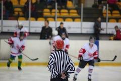 Tylni widok lodowego hokeja arbiter fotografia stock