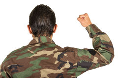 Tylni widok mężczyzna w wojskowym uniformu z pięścią up Obraz Royalty Free