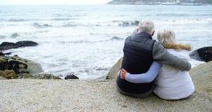 Tylni widok patrzeje morze starsza para zdjęcie wideo