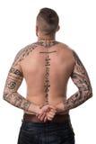 Tylni widok plecy Tatuujący mężczyzna Zdjęcie Stock
