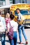 tylni widok przystojny nastoletni amerykanin afrykańskiego pochodzenia uczeń obraz stock