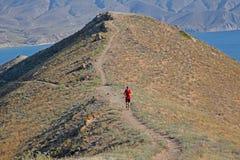 Tylni widok sportowy biegacza bieg na halnym śladzie na niebieskiego nieba tle zdjęcia stock