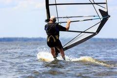 tylni widok windsurfer potomstwa Zdjęcie Royalty Free