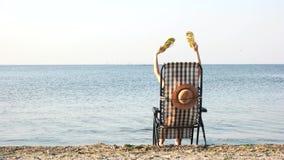 Tylni widoku kobieta macha jej klapy w plażowym bryczki longue zbiory wideo