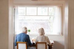Tylni widoku współmałżonkowie siedzi na krzesłach przy łomotać stół obrazy stock