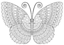 Tylny i biały wizerunek motyl na białym tle Antistress dla dorosłych i dzieci, dla odtwarzania i creativit ilustracja wektor