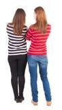 Tylny widok dwa młoda dziewczyna Obrazy Royalty Free