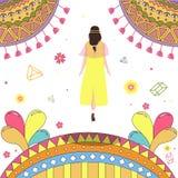 Tylny widok dziewczyny odprowadzenia puszek iść zapomina ilustrację Obraz Royalty Free