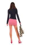 Tylny widok iść kobieta w smokingowej kobiecie z torba na zakupy fotografia royalty free