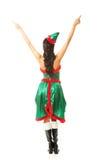Tylny widok jest ubranym elfa kobieta odziewa wskazywać up z oba rękami Fotografia Stock
