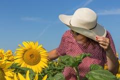 Tylny widok kobieta w kapeluszowym patrzeje słoneczniku Zdjęcie Stock