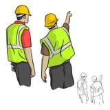 Tylny widok męscy przemysłowi inżyniery wskazuje wektorowego illustrat Obrazy Stock
