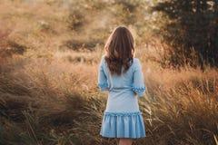 Tylny widok młoda kobieta ogląda zmierzch piękna dziewczyna na bardzo zielonej łące lub zdjęcie royalty free