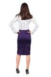 Tylny widok rozważny biznesowej kobiety kontemplować Zdjęcia Stock