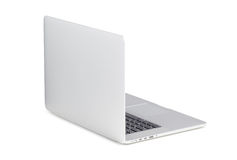 Tylny widok wiruję przy drobnego kąta nowożytnym laptopem obraz stock