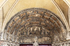 Tympana of Church of Notre-Dame in Dijon, France Stock Images