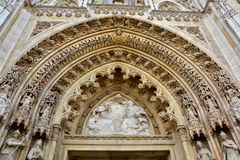 Tympanum above the entrance of Zagreb Cathedral of Assumption of the Blessed Virgin Mary. Croatia Royalty Free Stock Photos