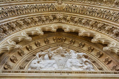 Tympanum above the entrance of Zagreb Cathedral of Assumption of the Blessed Virgin Mary. Croatia Royalty Free Stock Image