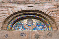 Tympanum with ancient mosaic of Collegiate Church. Of Saint Michael in Vydubychi Monastery in Kiev, Ukraine Royalty Free Stock Images