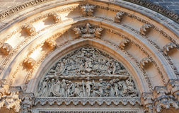 Tympanum of Basilica of St Peter and St Paul in Vysehrad. Of Prague (UNESCO site). Founded in 1070, current view since 1903 Stock Photo