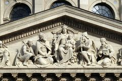 Tympanum bass relief showing the Virgin Mary and Hungarian saints, St. Stephen`s Basilica in Budapest stock photography