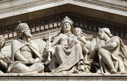 Tympanum bass relief showing the Virgin Mary and Hungarian saints, St. Stephen`s Basilica in Budapest stock images
