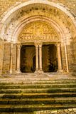 Tympanum of the church of Carennac. In the Lot in France Stock Photo