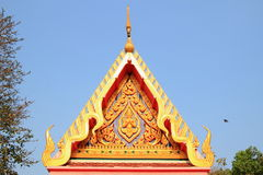 Tympanum. Close up of tympanum with thai architecture at the temple stock images