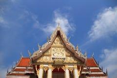 Tympanum. Close up of tympanum with thai architecture at at Wat thep prasatcsa sa kam phaeng noi , Sisaket Province stock photos