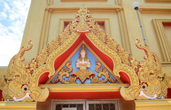Tympanum. Of Golden Temple at Wat Kiriwong, nakhonsawan Thailand Royalty Free Stock Photos