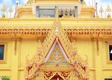 Tympanum. Of Golden Temple at Wat Kiriwong, nakhonsawan Thailand Stock Photo