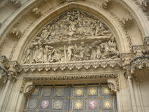 Tympanum of the Gothic cathedral in Prague Royalty Free Stock Photos