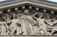 Tympanum of the `La Madeleine` church, Paris. The sculpted tympanum of the `La Madeleine` church, Paris Stock Image