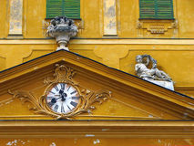 Tympanum of old yellow castle Royalty Free Stock Image