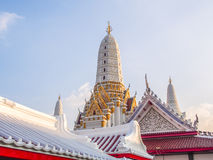 Tympanum and pagodas in the church in Thailand. Stock Photo