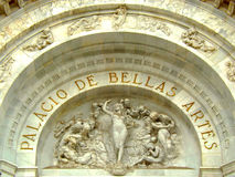 Tympanum of the Palacio de Bellas Artes main entrance. Tympanum of the Palacio de Bellas Artes main's arch entrance Stock Photography