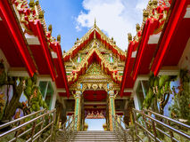 Tympanum of the pavilion toward to Thai temple in Thailand. Stock Images